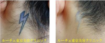 耳の後ろのファッションタトゥー